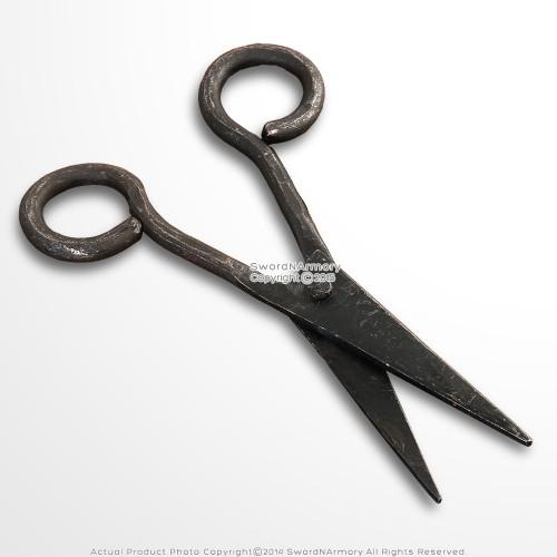 Medieval Renaissance Style Scissor Handmade Slick Snip Black Iron Antique Finish