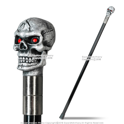 "33.5"" Skull Rider Gentleman's Walking Stick w/ Metal Cane and Large Rubber Tip"