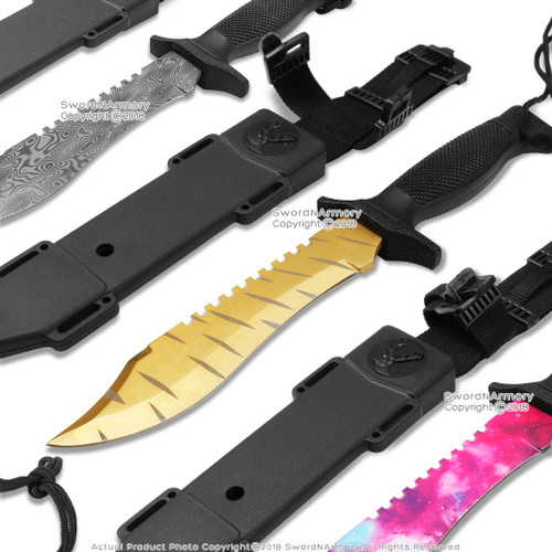 "CS Go 12"" Tactical Hunting Knife Bowie 3D Pattern Fixed Blade with Belt Sheath"