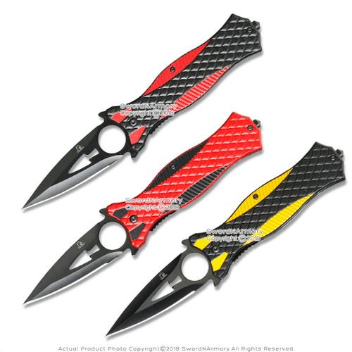 """8.25"""" Tactical Folding Dagger Knife w/Belt Clip Glass Breaker"""