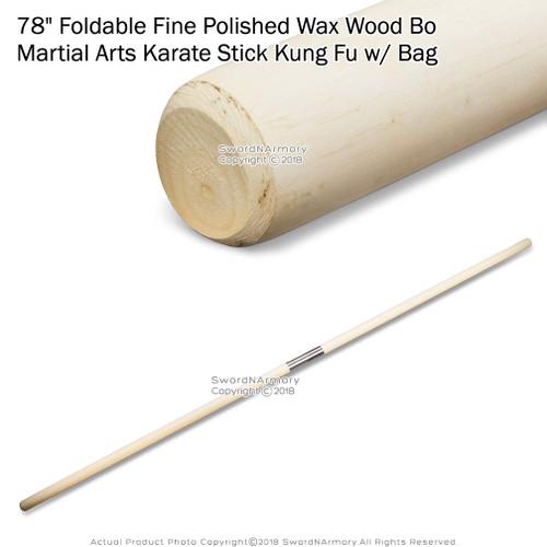 """78"""" Foldable Fine Polished Wax Wood Bo Martial Arts Karate Stick Kung Fu w/ Bag"""