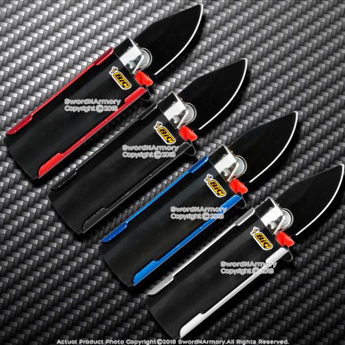 "Mini Spring Assisted Knife with Lighter Holder Case and Belt Clip 1.95"" Blade"