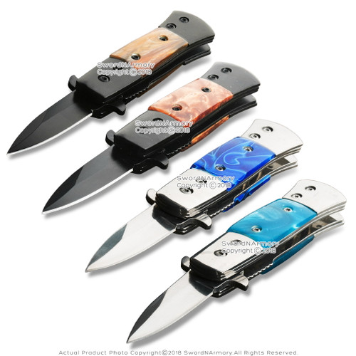 "CA Legal 1.9"" Blade Stiletto Style Spring Assisted Opening Knife Multiple Colors"