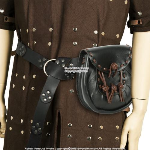 Medieval Genuine Leather w/ Steel Hoop Buckle Renaissance SCA LARP/Scottish Sporran Genuine Leather Kilt Pouch Purse