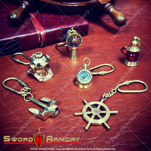 Set of 6 Handmade Brass Miniature Keychain Keyring Nautical Gift Souvenir Navigation Wheel Stockless Anchor Helmet