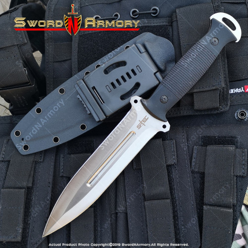 """12"""" Tactical Combat Knife 8CR13MOV Steel Fixed Blade G10 Handle Kydex Sheath"""