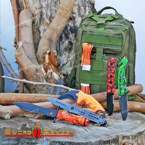 Mastiff Outdoor 600D Polyester Assault Tactical Backpack Military Rucksack With 5 Pcs Knifes + Paracord