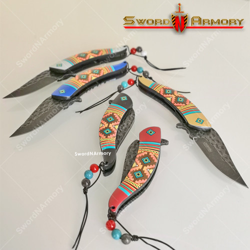 """8"""" Spring Assist Indian Knife with a Native American Style Design"""