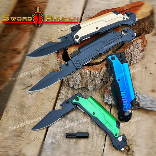 5 in 1 Spring Assisted Folding Knife /Flash Light/ Fire Starter/ Belt Cutter /Bottle Opener/ Glass Breaker