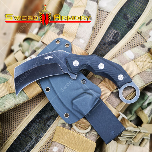 "8 1/2"" S-Tec Broad Head Karambit Fixed Blade Knife with G10 Composite Handle, 3 1/4"" 3Cr13 Stone Washed Blade, Reversible Kydex Sheath with Belt Loop."