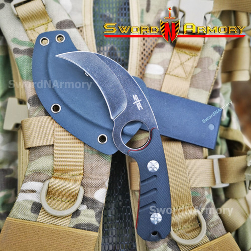 "7"" Mini Hawk Tactical Knife with G10 Composite Handle, 2 ¾"" 3Cr13 Stone Washed Blade, Reversible Kydex Sheath with belt loop"