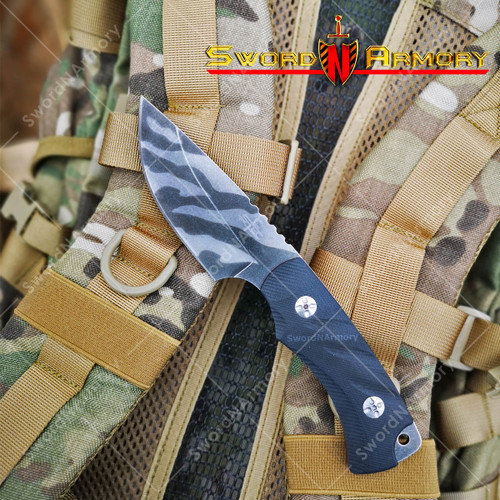 "8"" S-TEC Tiger Striped Tactical Knife with G10 Composite Handle, 3Cr13 Stone Washed Blade."