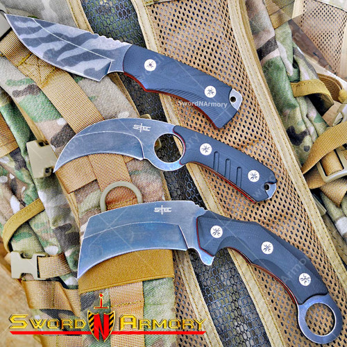 3 Pcs Of Tactical Fixed Blade Knife With G10 Composite Handle Stone Washed Blade Kydex Sheath