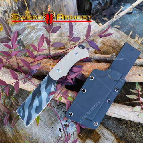 S-Tec Tiger Striped Mini-Cleaver with G10 Composite Handle, Reversible Kydex Sheath with Belt Loop.