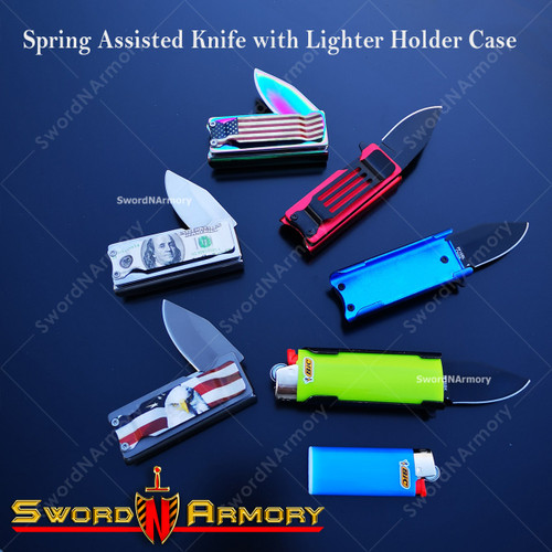 "2.75"" Spring Assisted Knife with Lighter Holder Case and Belt Clip"