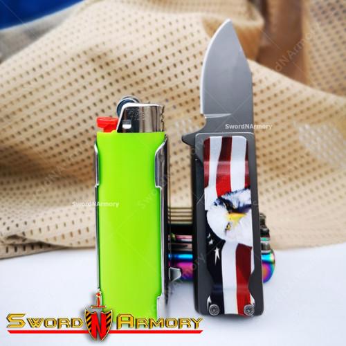 """2.75"""" Spring Assisted Knife with Lighter Holder Case and Belt Clip"""