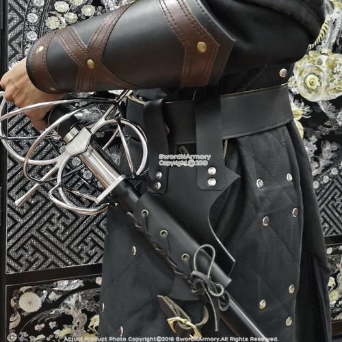 Bundle:Renaissance Swept Hilt Rapier Fencing Sword + Sword Belt Frog Holder Right Hand Left Hand Medieval Rivets Fairs Theatrical Play LF93