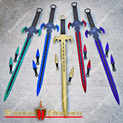 Anodized Ninja Fantasy Sword. Throwing Knives