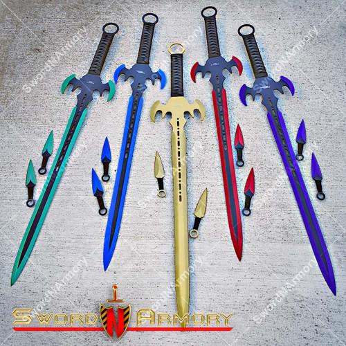 Anodized Ninja Fantasy Sword. Throwing Knives