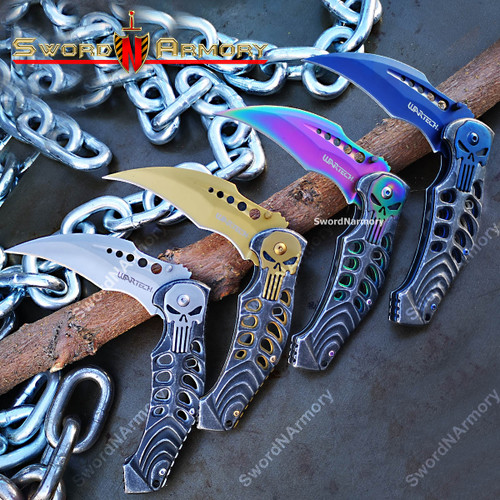 Spring Assist PUNISHER Karambit Folding Pocket Knife Hawkbill Blade Belt Clip