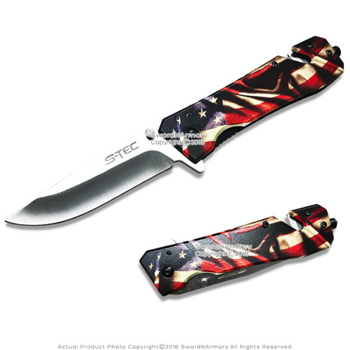 "8.5"" Spring Assisted Folding Pocket Rescue Knife with Glass Breaker belt Cutter"