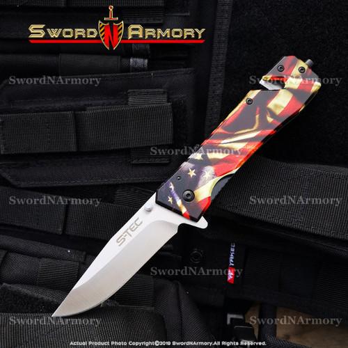 "8.5"" Spring Assisted Folding Pocket Rescue Knife with Glass Breaker belt Cutter"