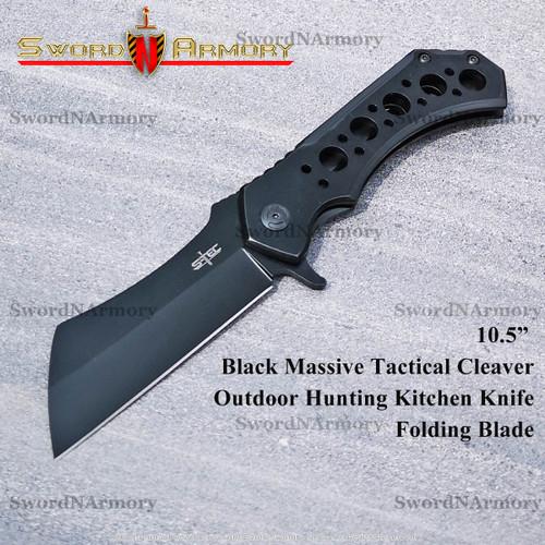 Black Massive Tactical Cleaver Outdoor Hunting Kitchen Knife Folding Blade
