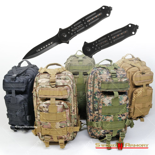 bugout tactical backpack with a folding knife combo