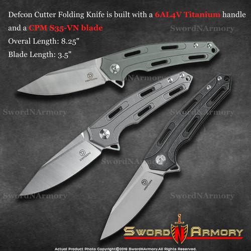 Defcon Cutter Folding Pocket Knife Titanium Handle