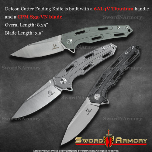 Defcon Cutter Folding Pocket Knife Titanium Handle