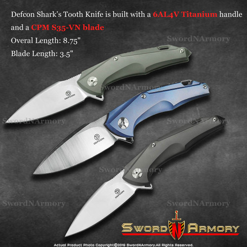 Defcon 3.5 Inch Shark's Tooth Folding Pocket Knife, 3 Different Colors Titanium Handle