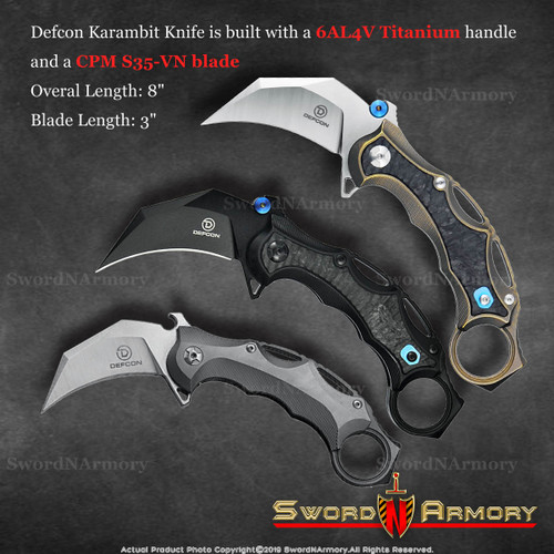 Titanium EDC Folding Pocket Tactical Karambit Knife