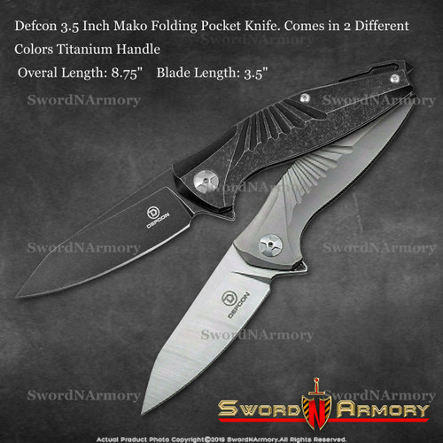 Defcon 3.5 Inch Mako Folding Pocket Knife. Comes in 2 Different Colors Titanium Handle