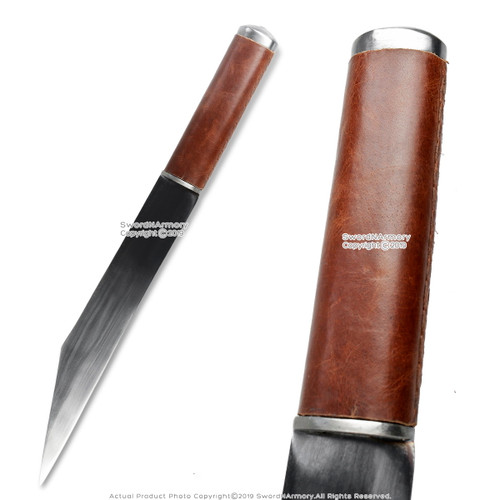 """18"""" Hand Forged and Crafted Seax Dagger Steel with Oval Brown Leather Handle"""