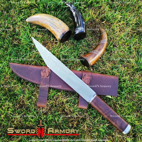 "18"" Hand Forged and Crafted Seax Dagger Steel with Oval Brown Leather Handle"