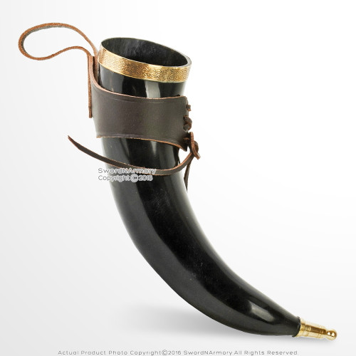 Deluxe Medieval Drinking Horn BOS TAURUS Viking Cup Brass Fitting Leather Holder