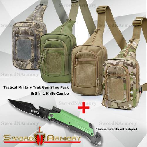 Sling Pack Shoulder Pack & Knife Combo