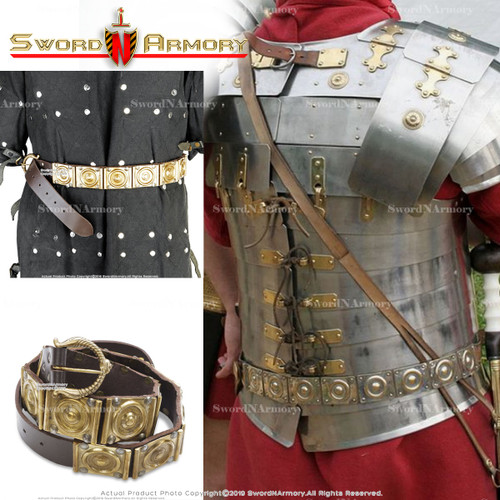 Roman Military Belt Roman Legionary Belt Centurion Genuine Leather Brass Accent