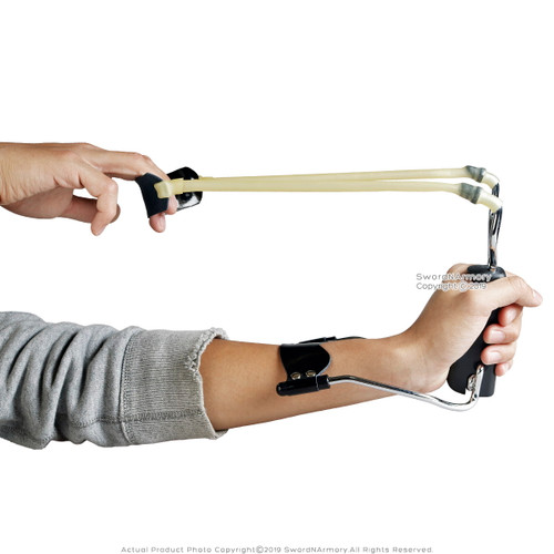 Folding Heavy Duty Slingshot Wrist Rocket Surgical Latex Bands Leather Pull