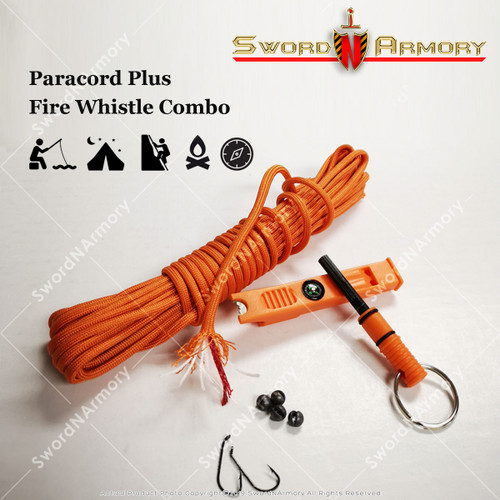 550 Paracord Plus Fire Whistle Combo