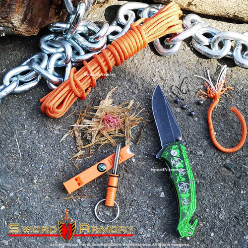 """8"""" Emergency Spring Assisted Opening Knife Zombie Symbol /550 Paracord/Fire Whistle Combo"""
