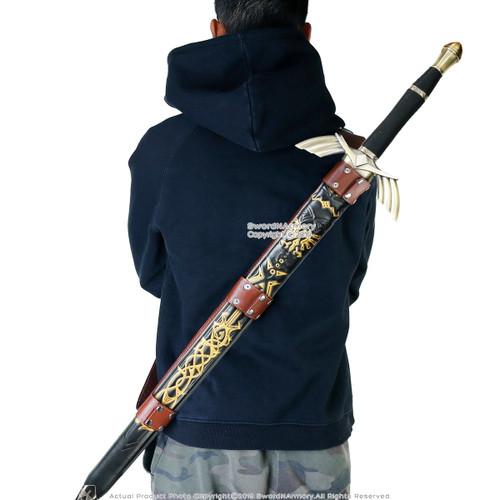 """49"""" Fantasy Sword Zelda Master Full Tang Black with Leather Carrying Back Belt"""