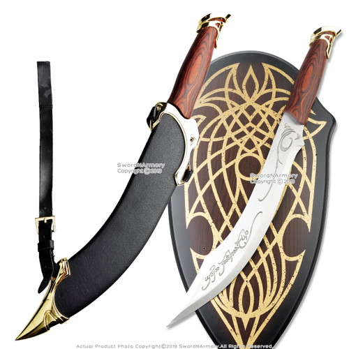 Long Knife Of Strider Ranger Elven Fantasy Scimitar Sword w/Sheath and w/Plaque
