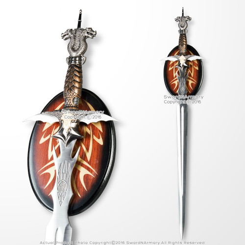 Double Dragon Fantasy Slayer Sword with Dagger in Pommel Includes Display Plaque