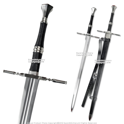 "49"" Geralt Witcher Steel Blade Replica Sword Scabbard Two Handed Medieval"