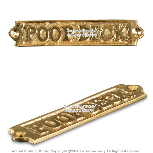 "Handmade Brass Door Sign 5"" ""Poop Deck"" Gift Souvenir"