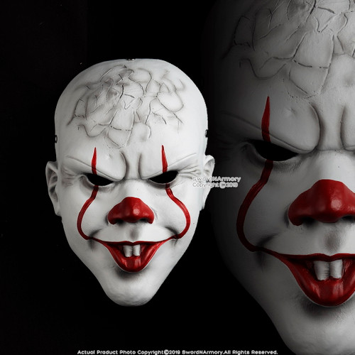 Halloween Resin Clown Mask Adult Costume Party Prop Realistic Horror Movie Cosplay