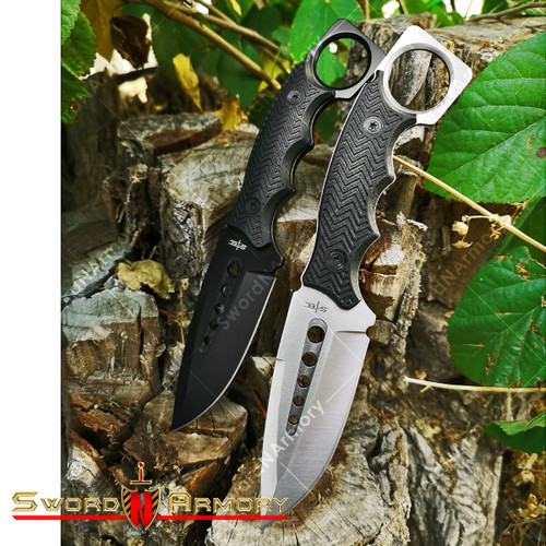 Tactical and Survival Knife with Finger hole handle *Combo Pack*