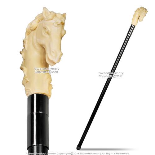 Fantasy Walking Cane with Horse Handle Gentleman's Walking Stick Metal Shaft