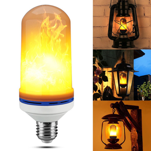 3 Pcs Texsens LED Fire Bulbs E26 4 Modes Upside Down Flame Effect Light Vintage Lamp